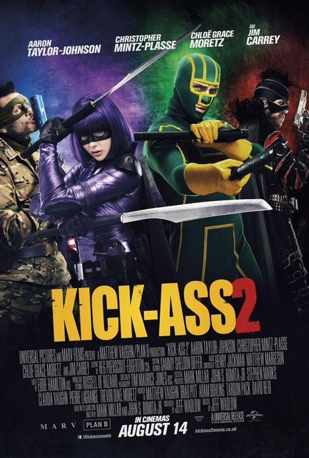 "Veja o novo poster internacional de ""Kick-Ass 2″, com Aaron Taylor-Johnson, Chloë Grace Moretz e Jim Carrey"