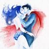 Super-heróis ilustrados em aquarela
