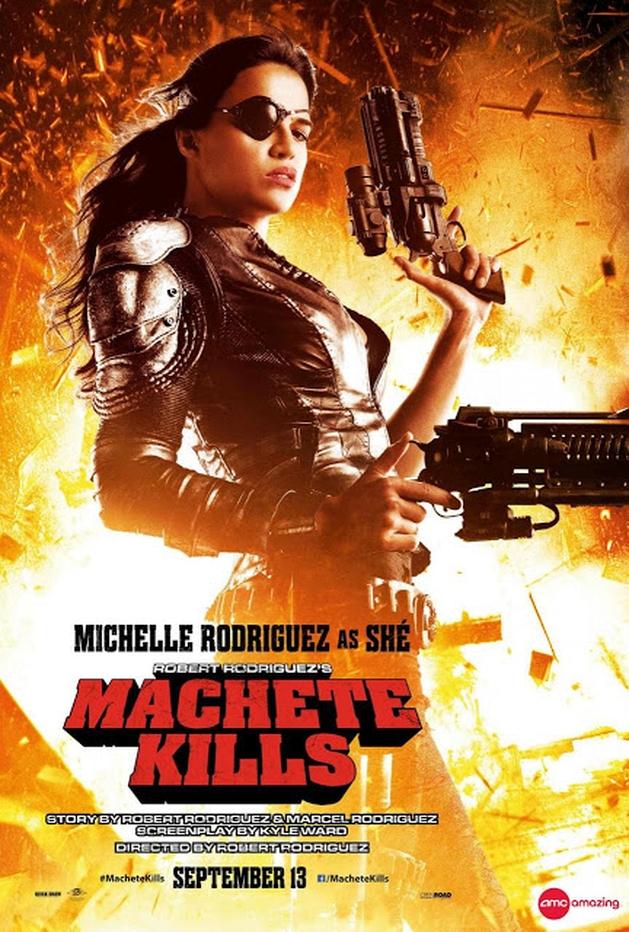 Michelle Rodriguez, Lady Gaga e Sofia Vergara nos pôsteres de personagens de MACHETE MATA, de Robert Rodriguez |