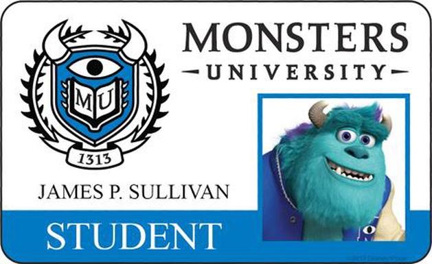 Múltiplos pôsteres individuais e cartões de identificação dos estudantes da Universidade Monstros | Cinetoscópio