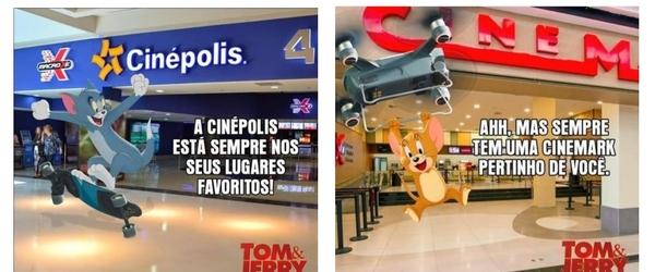 Cinépolis e Cinemark se unem em divertida campanha de Tom & Jerry