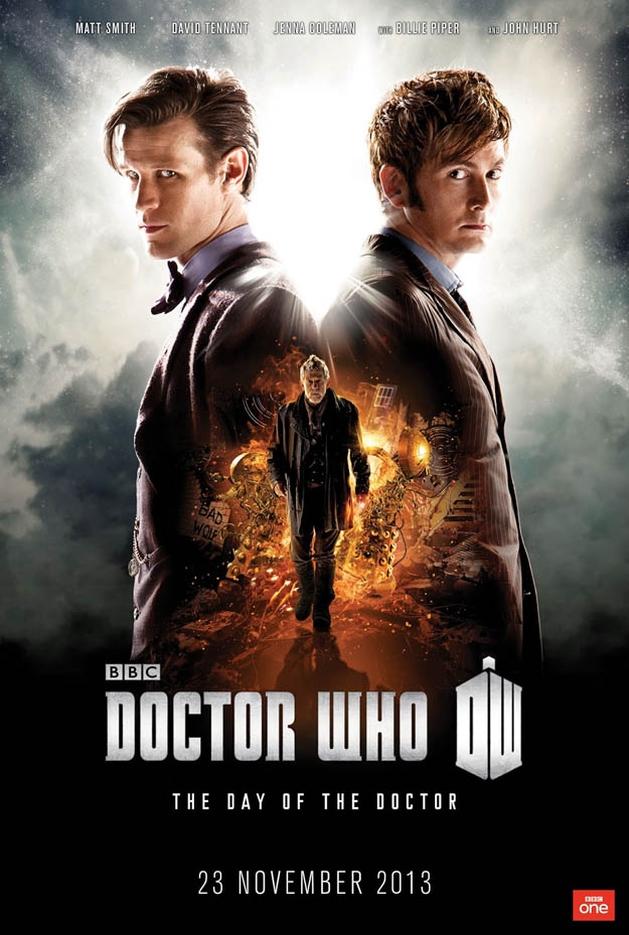 Matt Smith, David Tennant e John Hurt no pôster do especial de 50 anos de Doctor Who