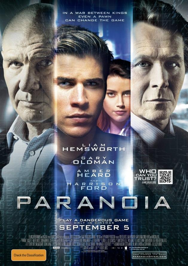 """""""Paranoia"""": novo pôster online, estrelando Harrison Ford e Gary Oldman"""